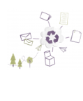recycling icon with paper products around it