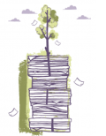 tree growing out of a pile of books