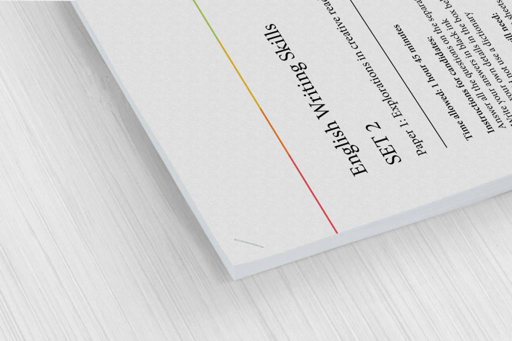 Corner stapled examination papers