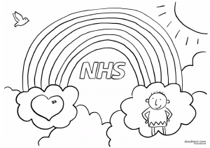 colouring rainbow to support the nhs