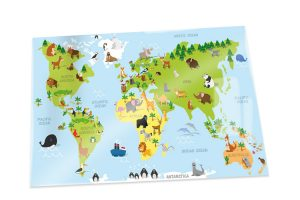 A1 World map poster with animals